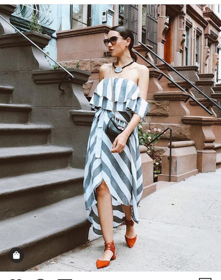 فستان صيفي قصير أوف شولدر مخطط