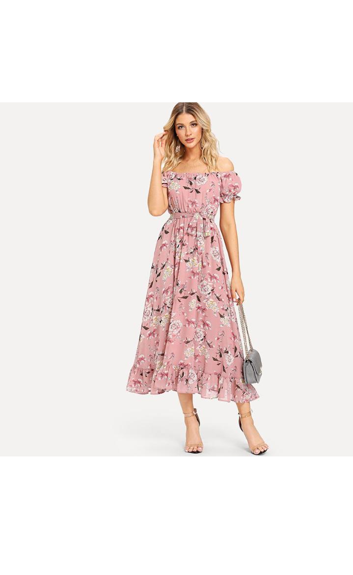 فستان صيفي مورد طويل باللون الوردي