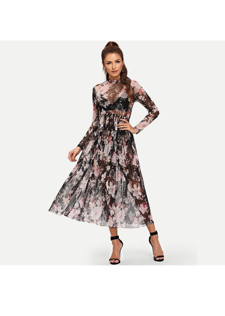 تصميم فستان صيفي مورد طويل باللون الأسود