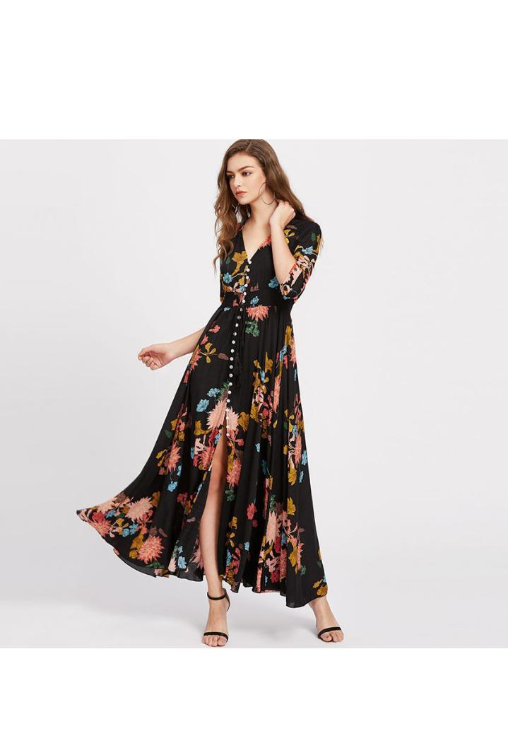 فستان صيفي مورد طويل باللون الأسود