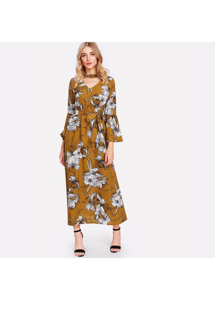 تصميم فستان صيفي مورد طويل
