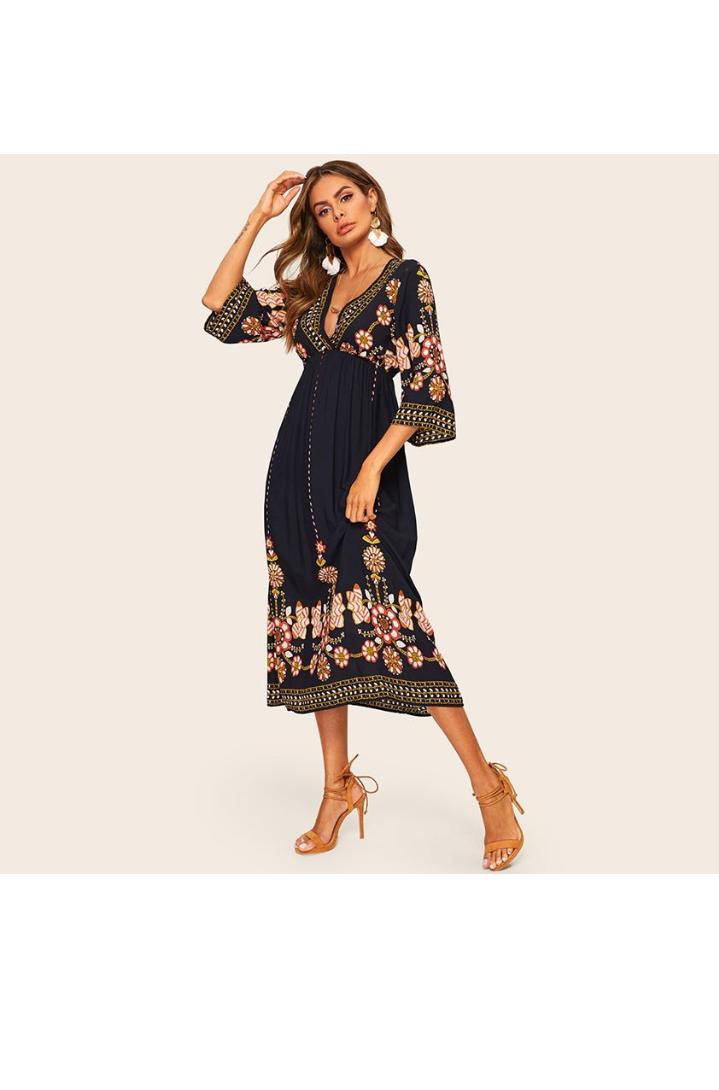 صورة فستان صيفي مورد طويل باللون الأسود