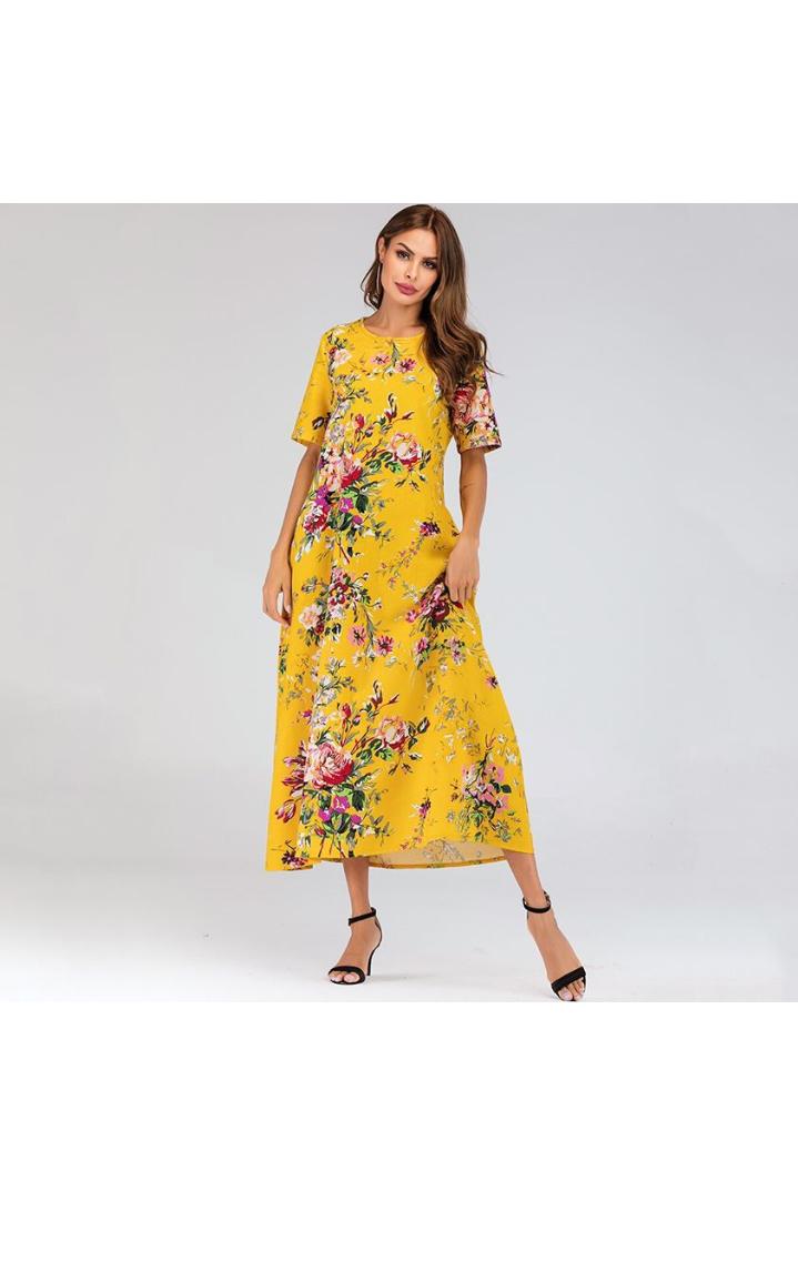 صورة فستان صيفي مورد طويل باللون الأصفر المستطردة