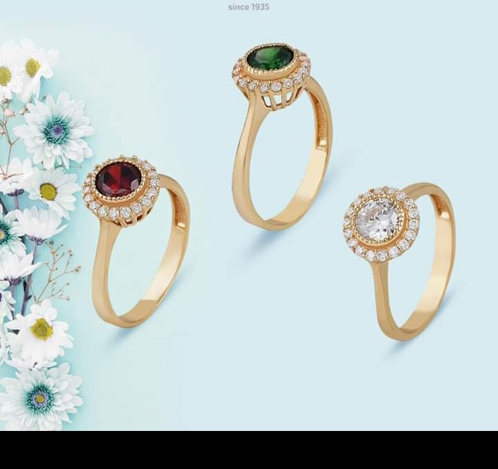 أشكال خاتم ذهبي بفصوص ملونة