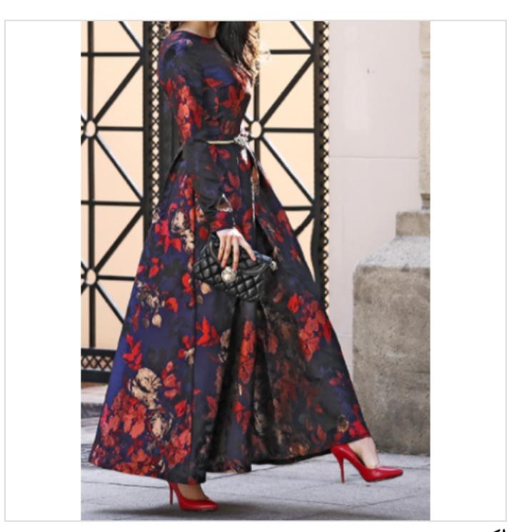 أشكال فستان ستان طويل مشجر للمحجبات مناسب للسهرات