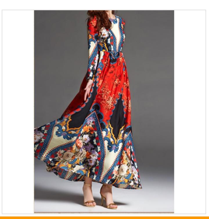 فستان ستان طويل مشجر
