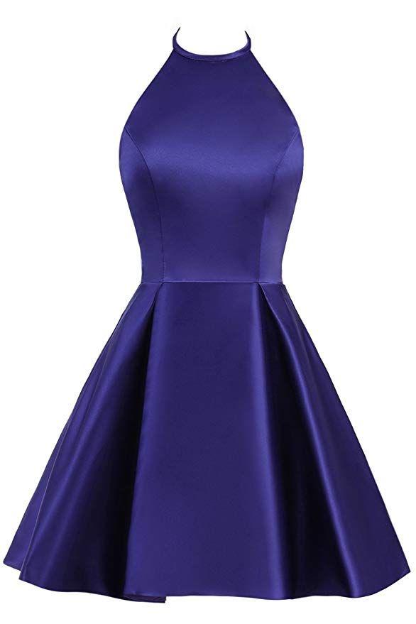 صورة فستان ستان قصير منفوش باللون الأزرق الموڤ