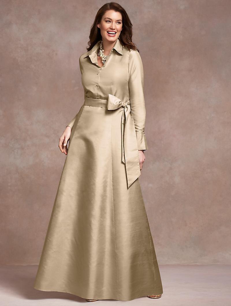 صور فستان ستان طويل سادة بكم للمحجبات مناسب للسهرات