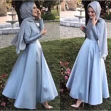فستان ستان طويل سادة بكم للمحجبات مناسب للسهرات