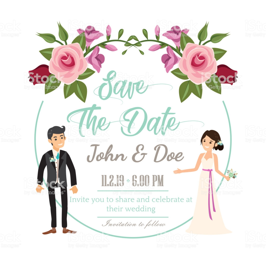 دعوة لحضور حفل زفاف مزينة بإطار من الورود