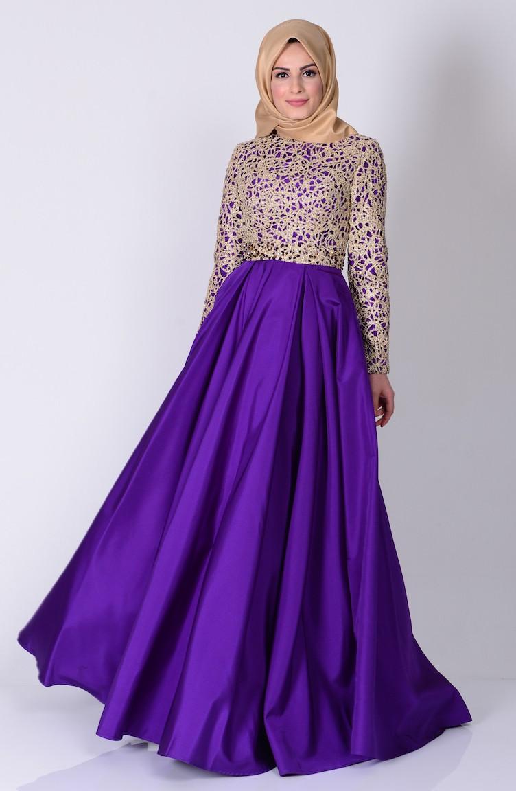أشكال فستان ستان طويل بكم للمحجبات مناسب للسهرات