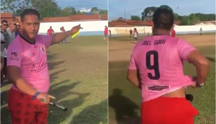 بالفيديو.. حكم يستخدم مسدس في مباراة بديلاً لكروت الإنذار