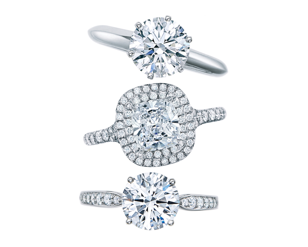 The Tiffany® Setting, Tiffany Soleste®, and Tiffany Harmony™ with a bead set band.
