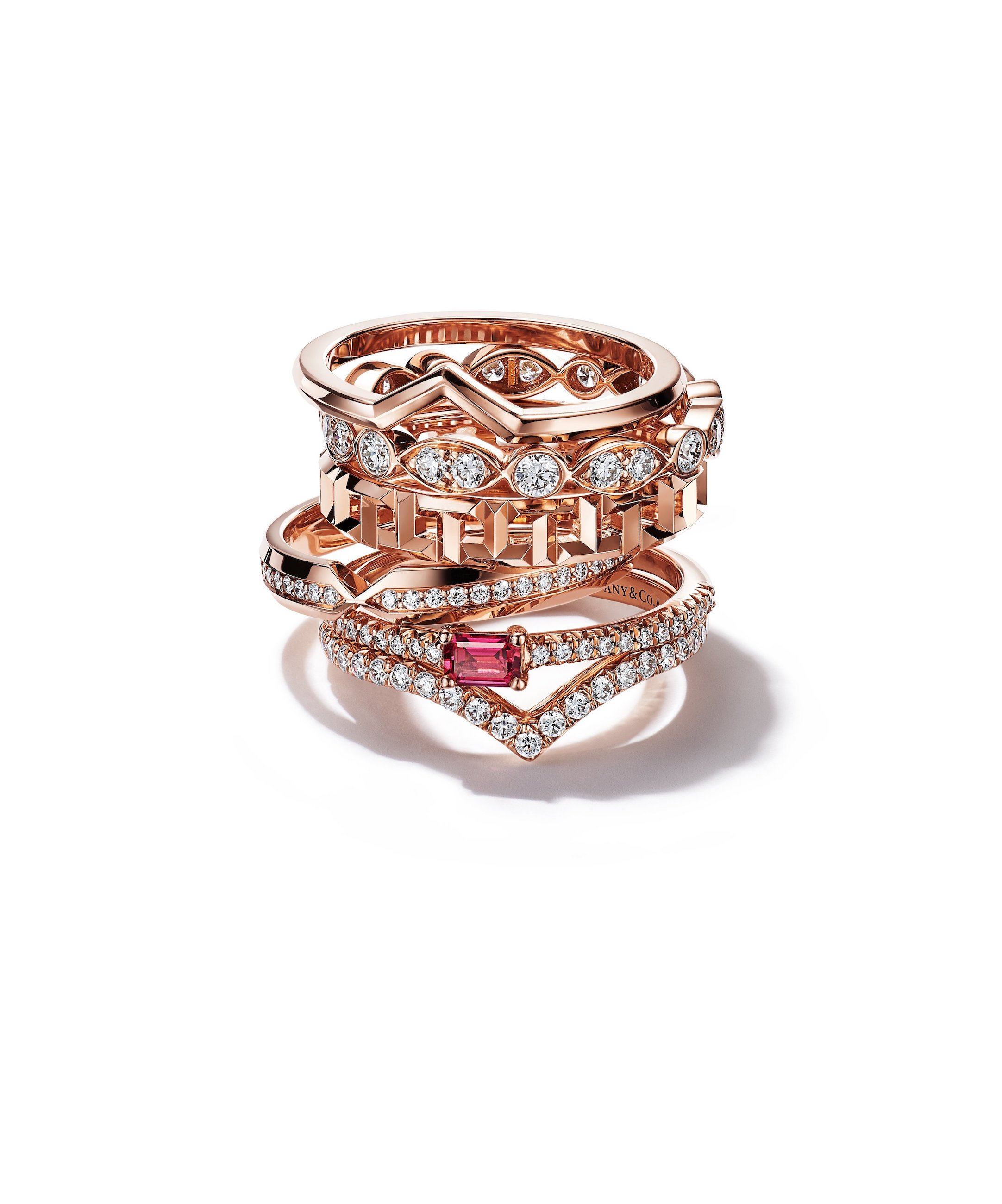 Tiffany & Co. diamond and ruby rings in rose gold