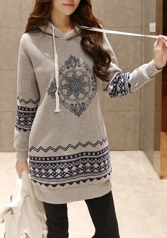 grey-geometric-drawstring-print-thick-hooded-long-sleeve-loose-pullover-cotton-sweatshirt