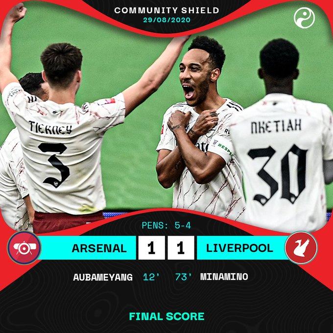 ليفربول يخسر لقب الدرع الخيرية بركلات الترجيح أمام أرسنال
