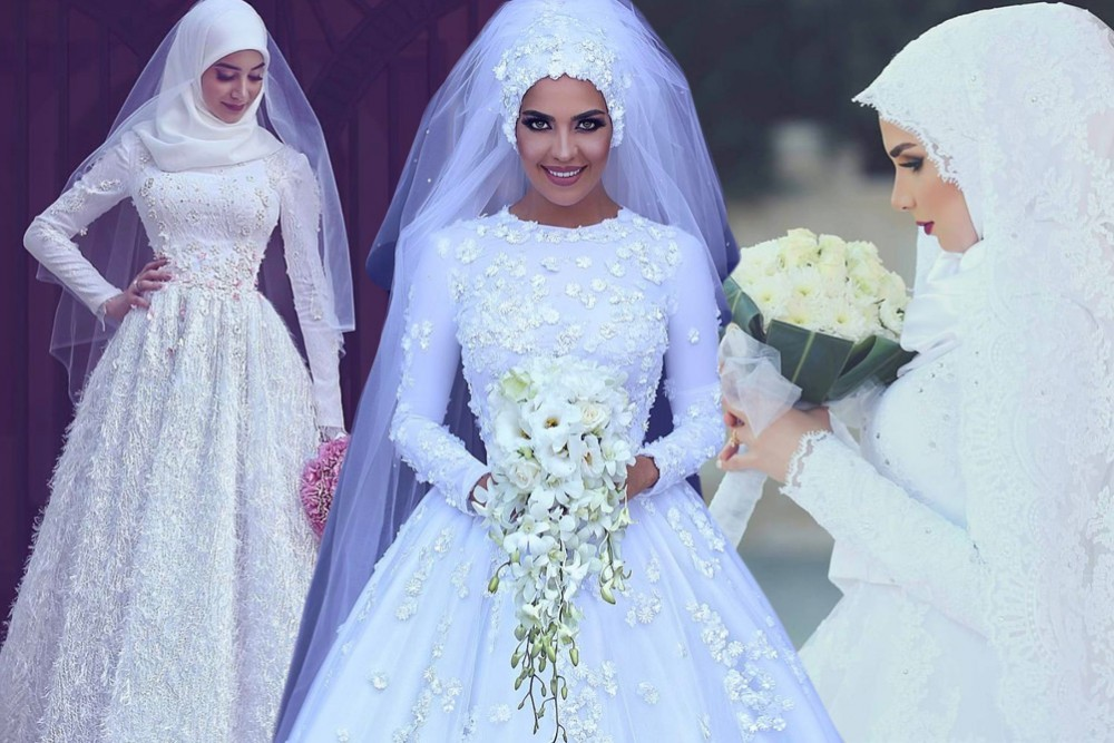 أفضل صور فساتين زفاف محجبات