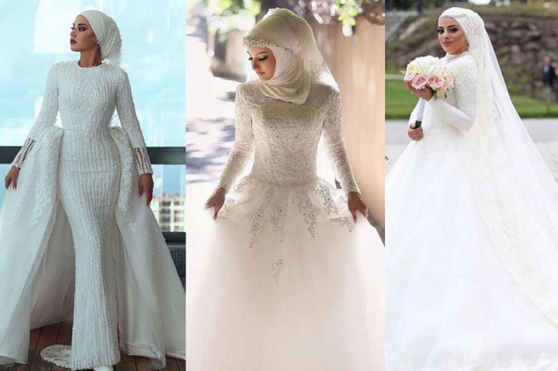 أنواع فساتين زفاف محجبات
