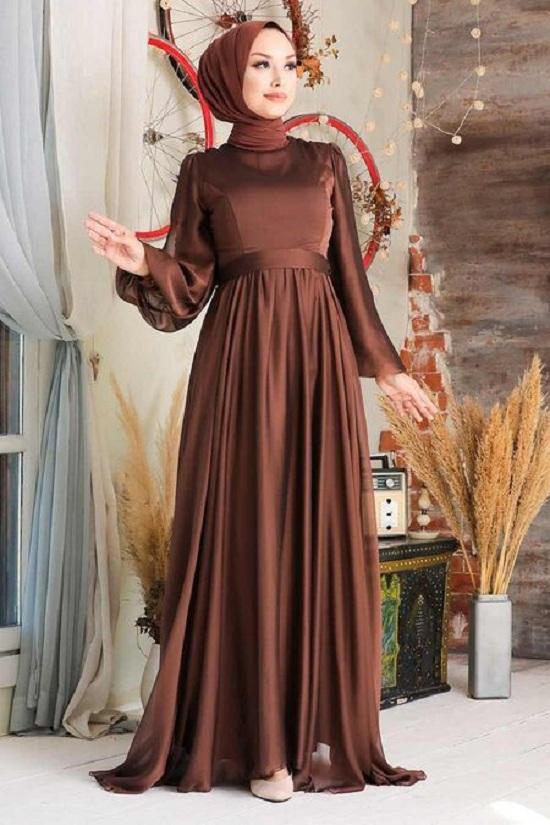 فستان سهرة بني افراح محجبات